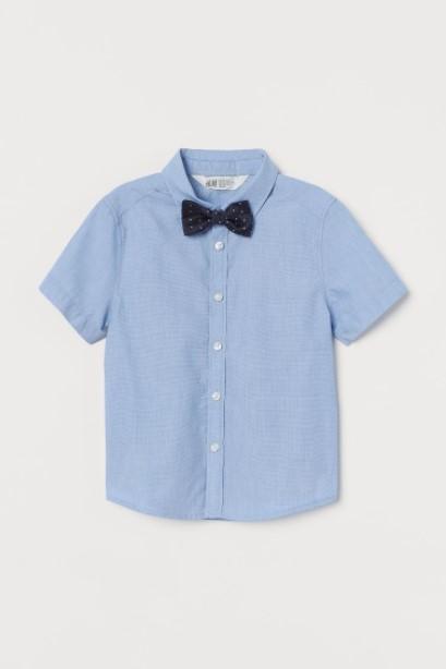 γαλάζιο πουκάμισο παπιγιόν παιδικά ρούχα H&M καλοκαίρι 2021
