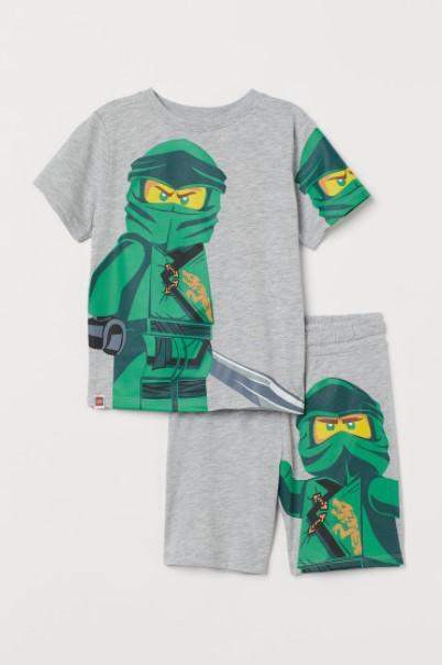 γκρι σετ λέγκο παιδικά ρούχα H&M καλοκαίρι 2021