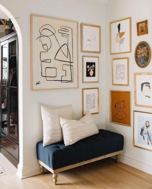 γωνιακό gallery wall κάθισμα διακοσμήσεις γωνίες