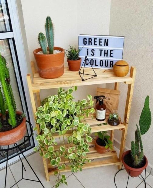 ξύλινο έπιπλο φυτά μπαλκόνι ράφια μπαλκόνι