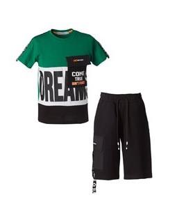 πρασινη μπλουζα μαυρη βερμουδα