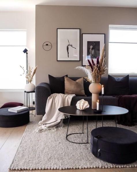 μοντέρνο σαλόνι καναπές βάζα