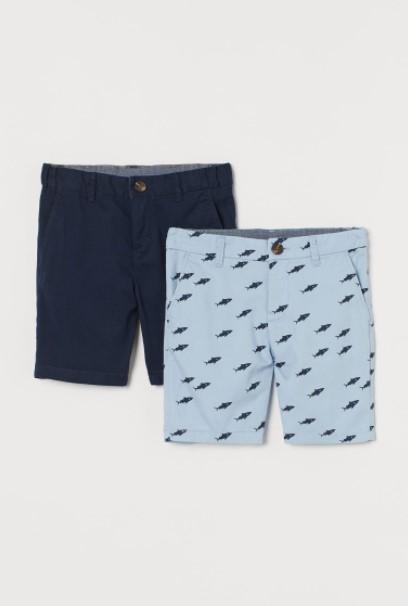 μπλε γαλάζια βερμούδα παιδικά ρούχα H&M καλοκαίρι 2021