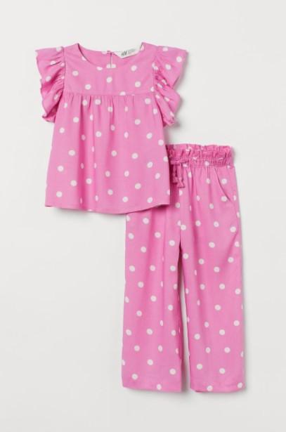 παντελόνι μπλούζα ροζ πουά