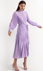 πλισέ λιλά φόρεμα