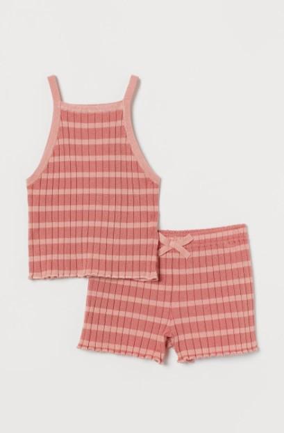 ριγέ ροζ σετ παιδικά ρούχα H&M καλοκαίρι 2021