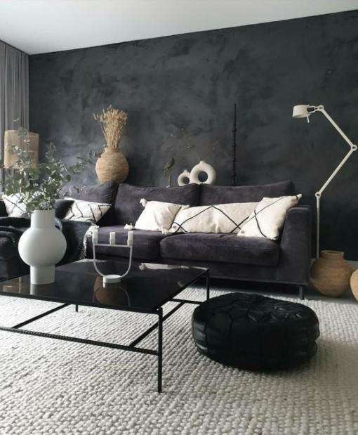 σαλόνι σκούρος τοίχος πουφ διακοσμητικά μοντέρνο σαλόνι