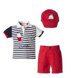 σετ κοκκινη βερμουδα και καπελο με μπλουζα ριγε