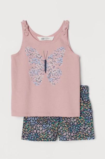 σορτς μπλούζα πεταλούδα παιδικά ρούχα H&M καλοκαίρι 2021