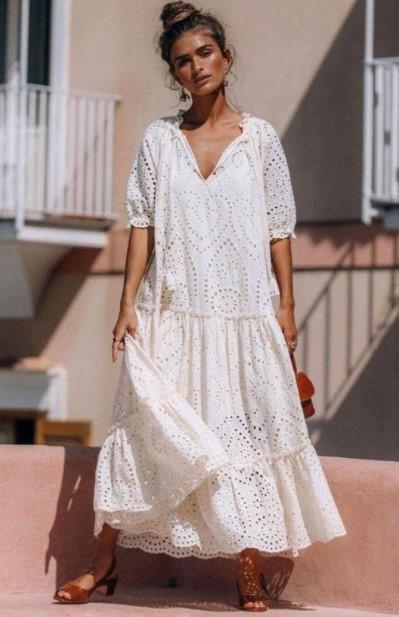 άσπρο μακρύ φόρεμα broderie καλοκαιρινά κομμάτια