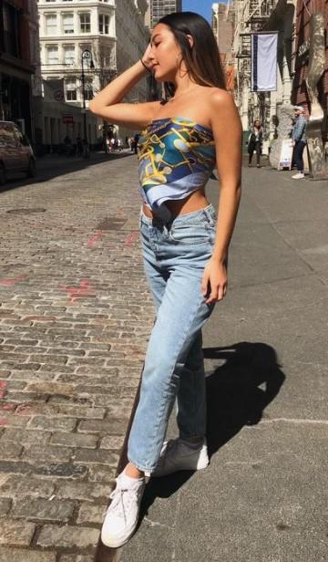 φουλάρι μπλούζα τζιν παντελόνι καλοκαιρινά κομμάτια
