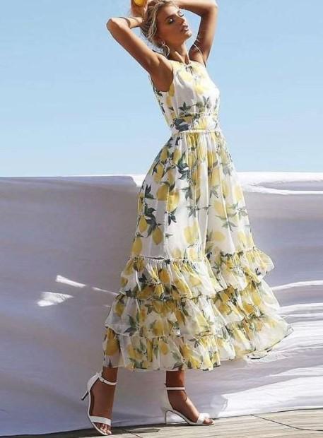 μάξι φόρεμα λεμόνια καλοκαιρινά κομμάτια