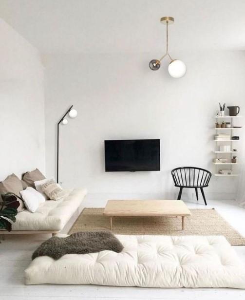μίνιμαλ λευκό σαλόνι