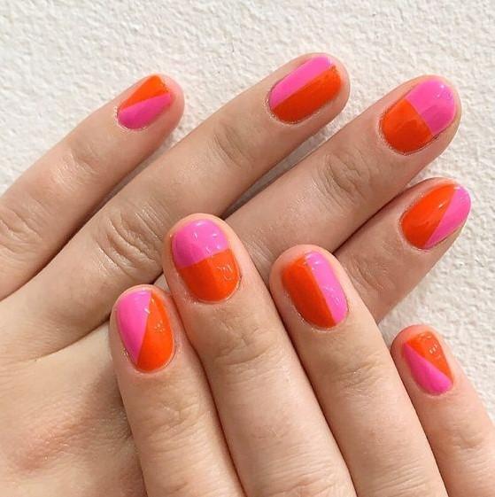 ροζ πορτοκαλί νύχια