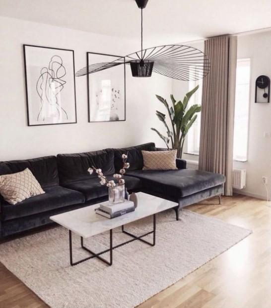 καθιστικό αφαιρετικοί πίνακες σκούρος καναπές