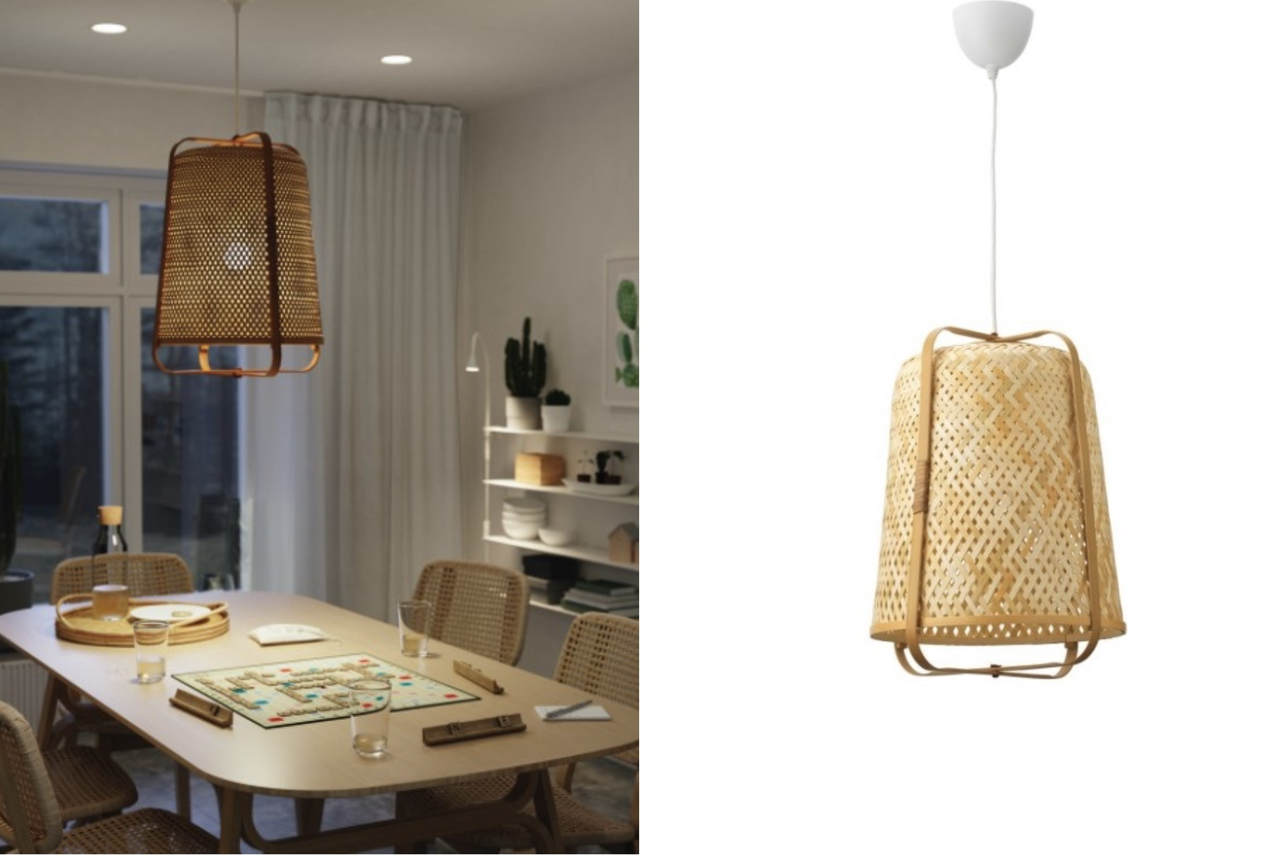τραπεζαρία και φωτιστικό από IKEA