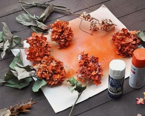 βαφή ψεύτικων λουλουδιών