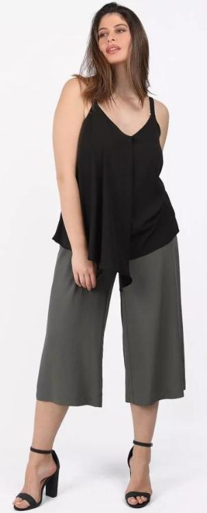 γκρι cropped παντελόνα με ζώνη ediva.gr