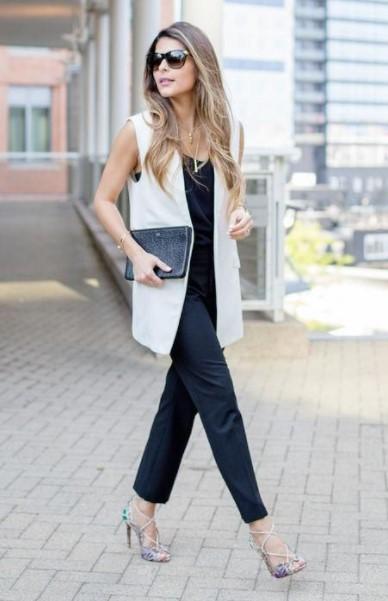άσπρο γιλέκο μαύρο παντελόνι