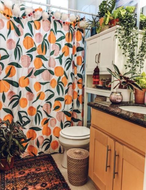 κουρτίνα μπάνιου πορτοκάλια
