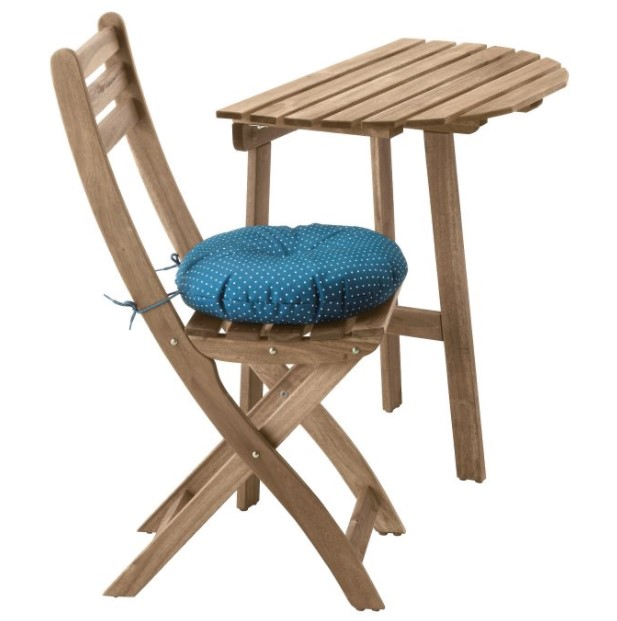 ξύλινο τραπέζι καρέκλα ASKHOLMEN μπαλκόνι στην πόλη
