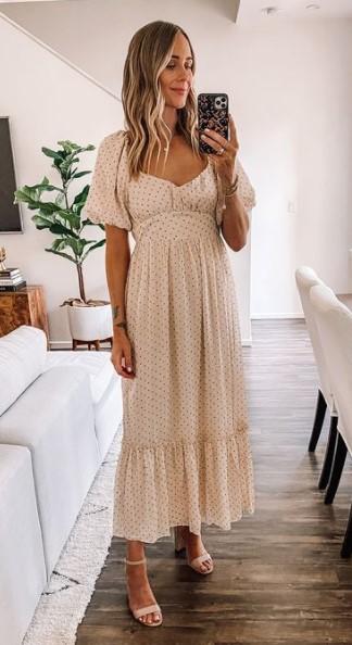 μακρύ άσπρο πουά φόρεμα καλοκαιρινά outfits γραφείο