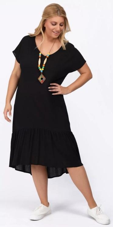 μαύρο φόρεμα με βολάν σε φαρδιά γραμμή