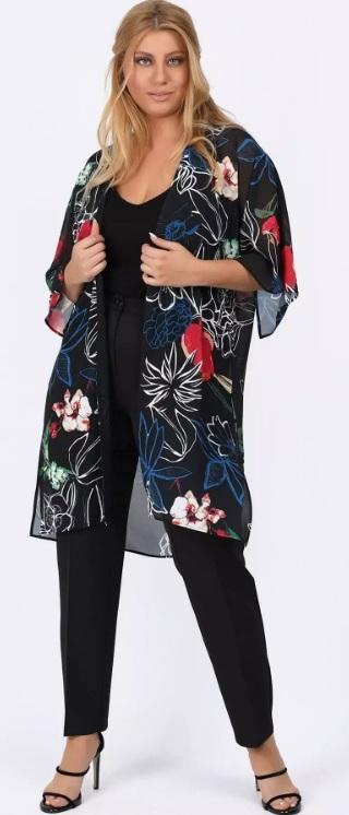μαύρο floral κιμονό μεγάλο μέγεθος