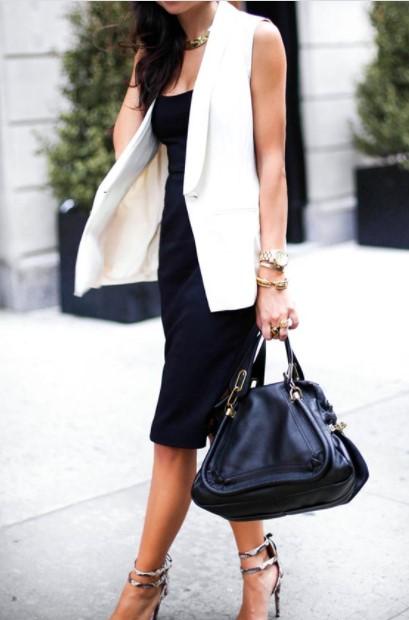 μαύρο φόρεμα άσπρο γιλέκο καλοκαιρινά outfits γραφείο