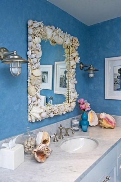 μπάνιο καθρέπτης κοχύλια