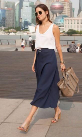 μπλε midi φούστα άσπρη φούστα