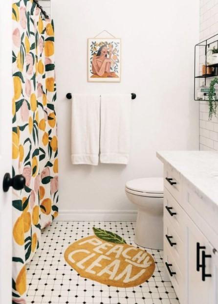πατάκι μπάνιου ροδάκινο καλοκαίρι μπάνιο