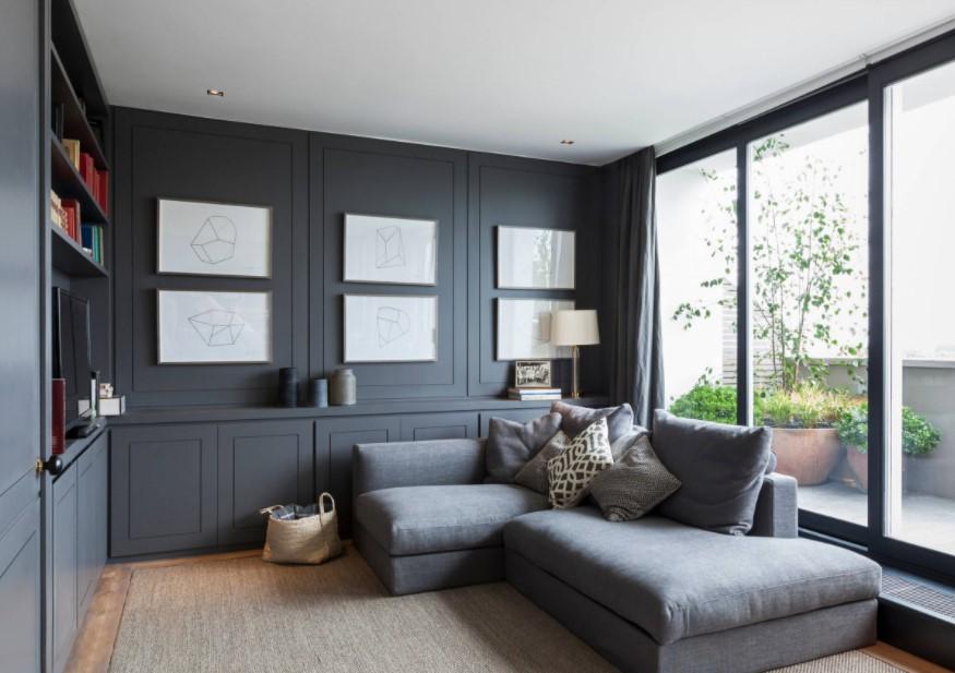 σαλόνι σκούροι τοίχοι άσπρο ταβάνι