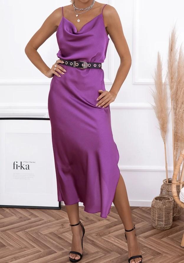 σατέν μοβ midi φόρεμα