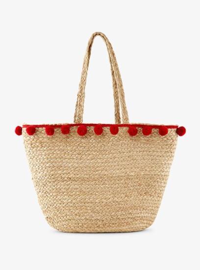 τσάντα θαλάσσης μπεζ ψάθινη με πομ πομ
