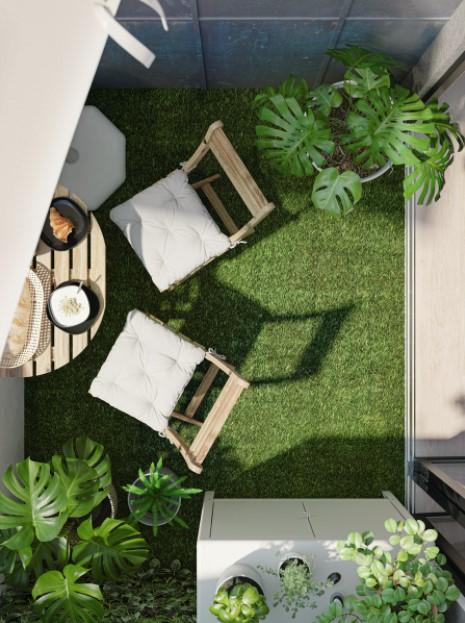 βεράντα πράσινο δάπεδο