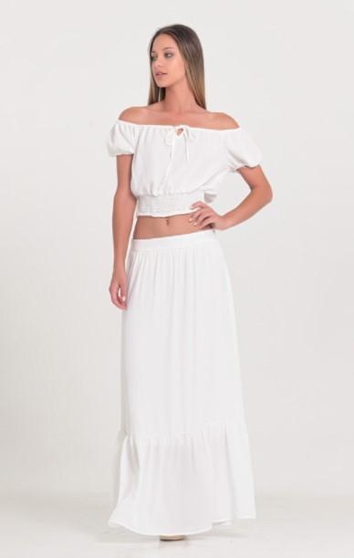 άσπρη μακριά φούστα