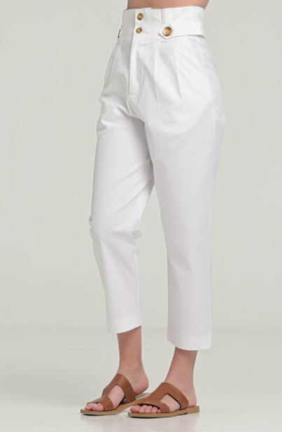 άσπρο παντελόνι ψηλόμεσο