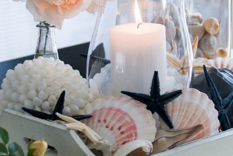 κοχύλια και κεριά διακόσμηση