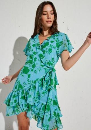 φλοράλ γαλάζιο φόρεμα