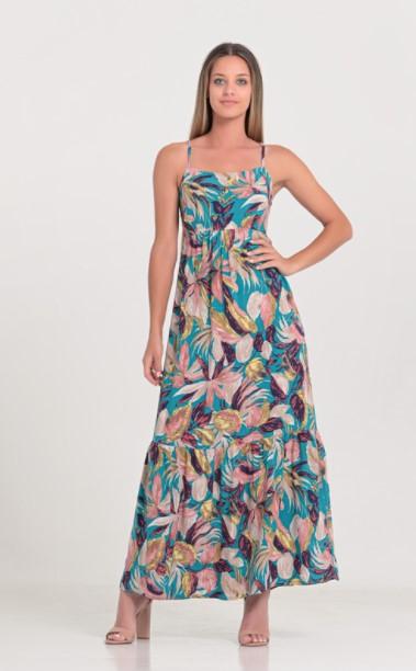 φλοράλ μπλε φόρεμα