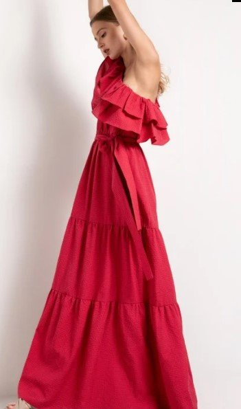 μακρύ φόρεμα toi moi με βολάν καλοκαιρινά ρούχα