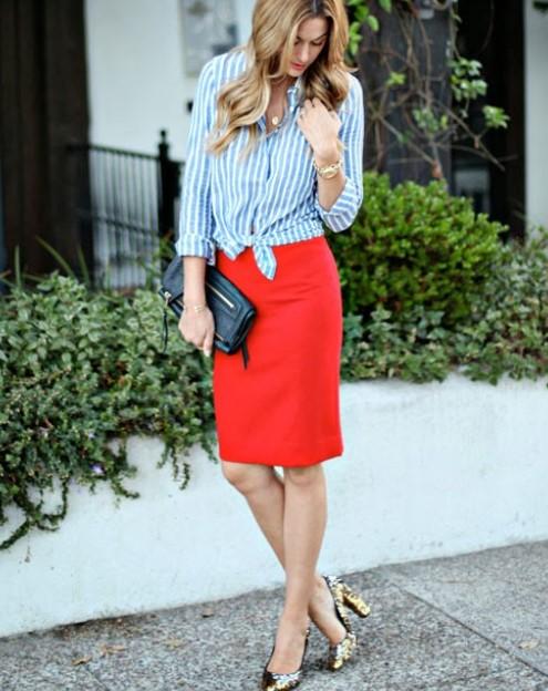 κόκκινη φούστα πουκάμισο