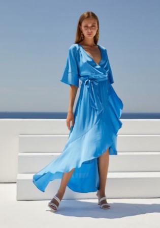 γαλάζιο σατινέ φόρεμα BSB καλοκαίρι 2021