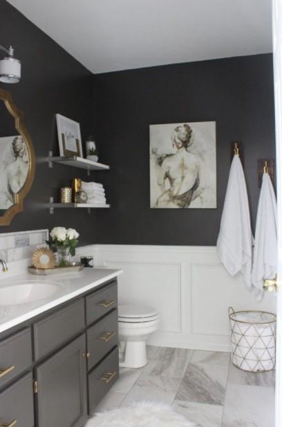 γκρι μπάνιο πίνακας στιλάτα διακοσμητικά μπάνιου