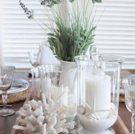 ιδέες διακόσμησης με συνθέσεις κεριών λευκών