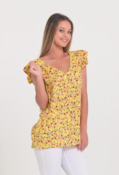 κίτρινη φλοράλ μπλούζα