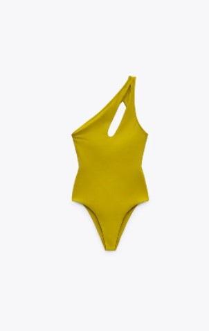 κίτρινο ολόσωμο με έναν ώμο