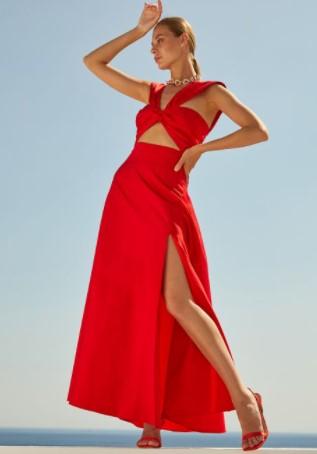 κόκκινη φούστα σκίσιμο BSB καλοκαίρι 2021