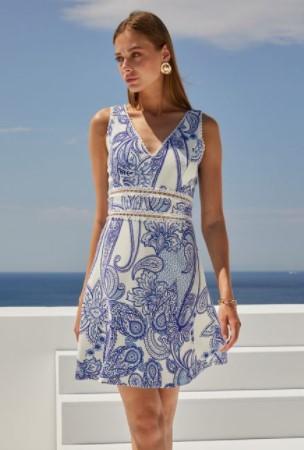 λαχούρ φόρεμα άσπρο μπλε